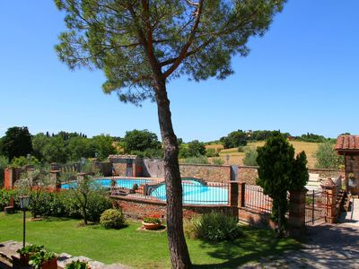 Photo for In a beautiful property with pool and views of the hills of the Val di Chiana