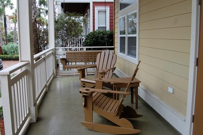 Front Porch with chairs and swing for morning coffee and afternoon cocktails