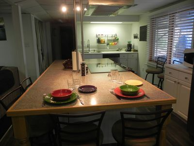 Nice big kitchen with fun colorful Fiesta dishes.