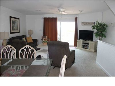 View of living room from dining area