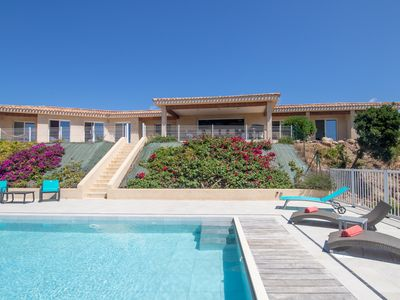 Photo for Magnificent villa heated swimming pool jacuzzi panoramic sea view 3km from the beach