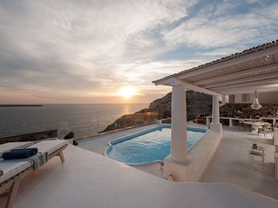 Photo for Luxury Villa Sunset Oia Santorini, 2 Bedrooms, Private Pool, Indoor and Outdoor Jacuzzi, Up to 6 Guests, Impressive Sunset and Volcano View