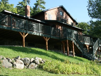 Spectacular Squam Lake, NH 6 BR House with tennis court, dock and beach