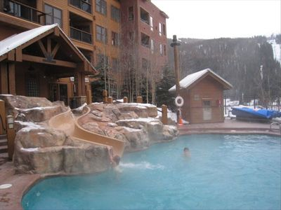 Great heated pool with slide, fun for everyone