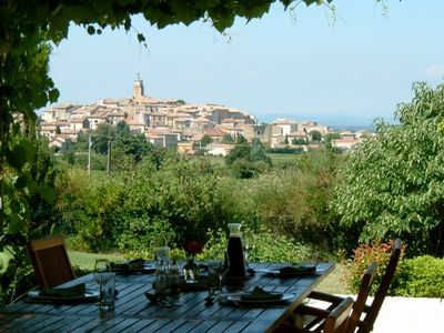 The view of the village of Sablet from the terrace