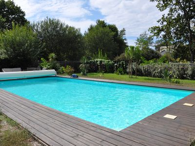 Photo for Chalet landais 'the dragonfly' on airial de chênes with swimming pool (12x6)