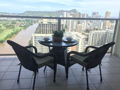 Panoramic View From Large Balcony, Ocean, Diamond head, Mountain, Golf course..
