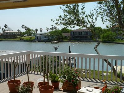 View of Copano Harbor from huge front porch. Great for Bird Watching or Partying