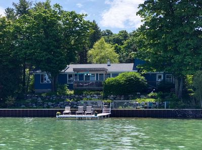 The Stone Terrace Beach Cottage right on Suttons Bay - doesn't get any closer!!