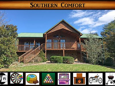 """Photo for """"Southern Comfort"""" - Luxury Cabin / WiFi / Hot Tub / Arcade / Darts / Pool Table"""