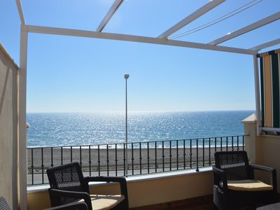 Photo for House 1st line of beach, a balcony to the Mediterranean, with the best climate in Europe