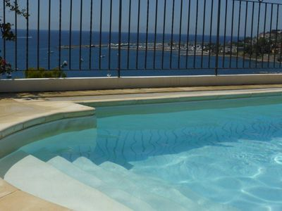 Photo for VILLA DEL MARE LIGURE .. Beautiful apartment in villa, swimming pool 200 m sea WIF