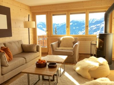 Photo for Luxury 3 bed apartment in Verbier, near bus stop & close to village centre