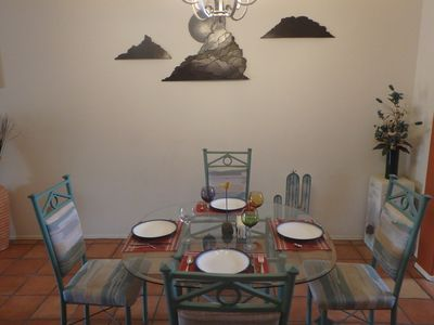 Dining for 4 with LED dimmable lighting.