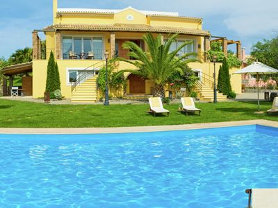 Photo for Amazing beautiful, big luxe house, large swimming pool, gym, tennis court, Corfu