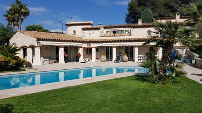 Photo for Beautiful quiet family villa with large pool and open views hills