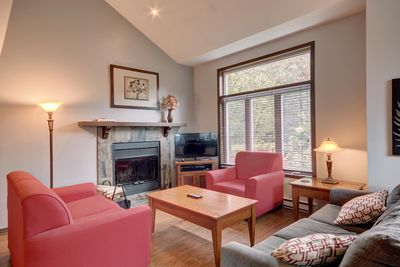 Living room with wood fireplace