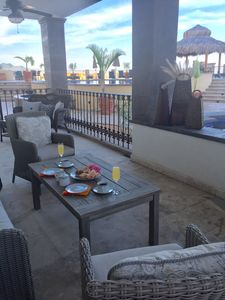Enjoy breakfast on the patio. Private Jacuzzi on the patio.