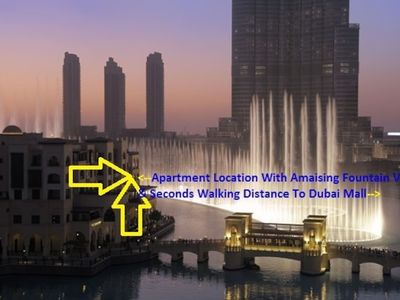 Photo for Luxury, Steps Above Dancing Fountains, Dubai Mall, Two Terraces, Full Burj View