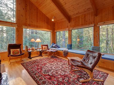 Photo for Charming forest lodge w/ private hot tub, sauna & fireplace! Shared pool access!