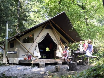 Photo for Camping Huttopia La Clarée * - Trapper Tent 3 Rooms 5 People