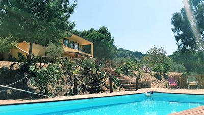 Photo for Apartment in villa with swimming pool in Cefalù, view of the Bay, App. Aranancione