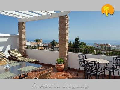 Photo for Penthouse, huge terrace, fantastic sea view, wifi, air conditioning, great pool