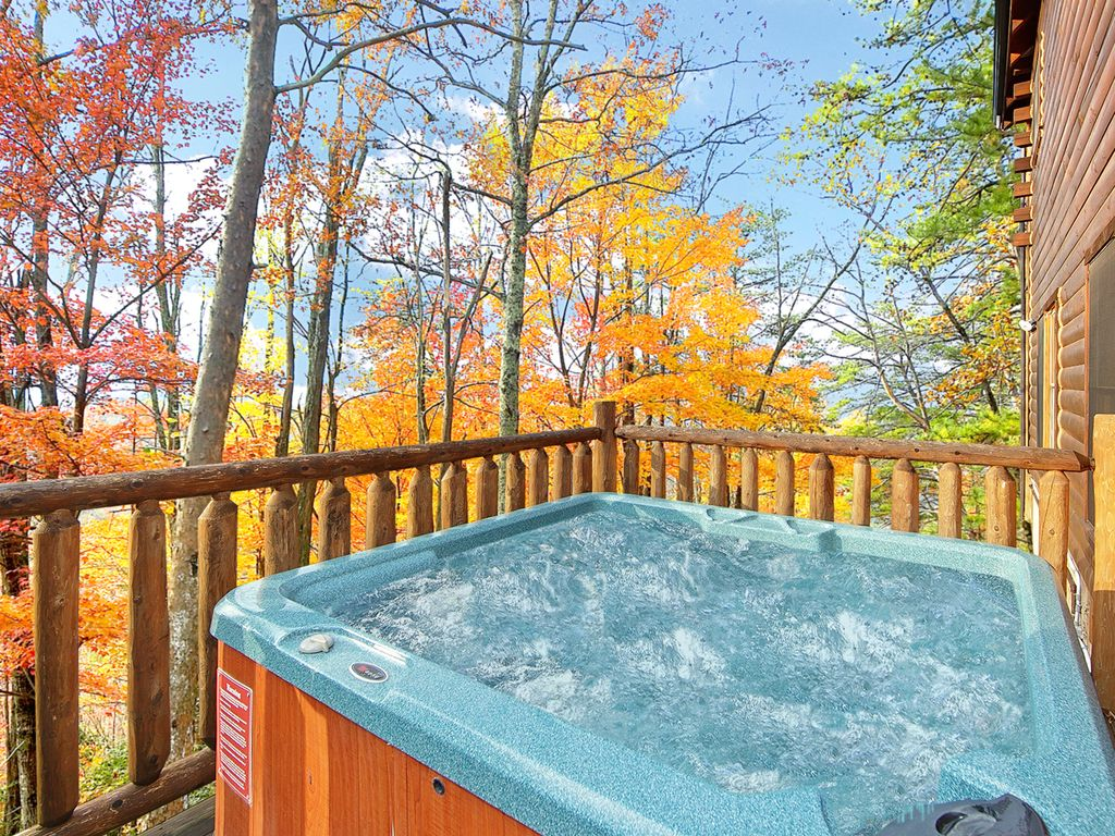 peaks new blue inside pigeon rentals cabins vista outdoor our private gatlinburg rental brand heated forge cabin with swimming hot luxury pool indoor