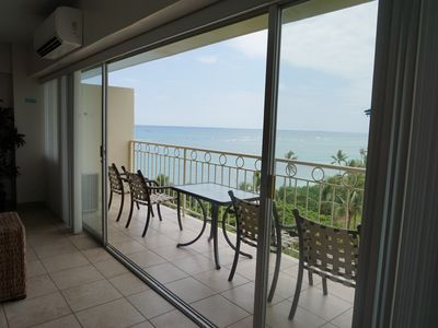 Spectacular Ocean views from inside this condo and from the very spacious lanai