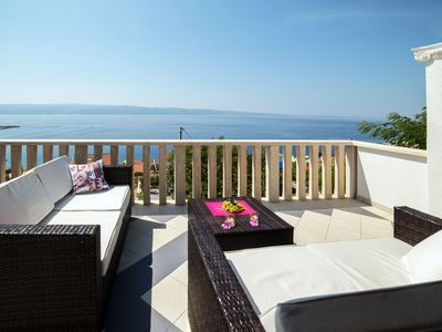 Photo for Villa directly by sea(170 m) ,panoramic view,heated pool with hydromassage,gym