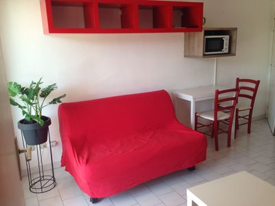 Photo for South facing apartment, 25m from the beach, near shops, for 4 people