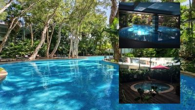 lagoon style pool in an idyllic tropical resort a stones throw from the beach