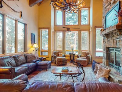 Photo for NEW LISTING!  Luxury cabin w/ pvt hot tub, fireplace, & bar area - close to ski