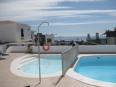 Photo for Puerto del Carmen near Biosfera, App. with sea view and direct pool access