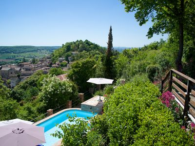 Photo for hilltop villa spectacular views over medieval village, 5 mins walk away