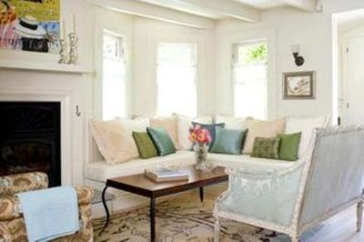 Living room banquette & fireplace