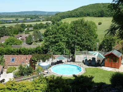 Beautiful views from the garden with hot tub and plunge pool