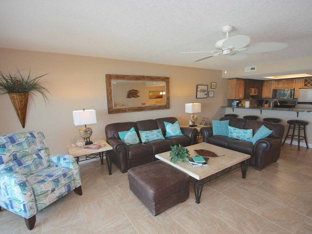 Charmant Indian Shores Condo Rental   Spacious Living Room With Comfortable Leather  Furniture/Sea Inspired