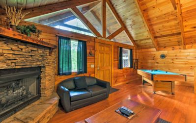 Photo for ★★ Romantic Cabin Nestled in the Woods ★ Hot Tub ★Wifi ★ Close To Town ★★