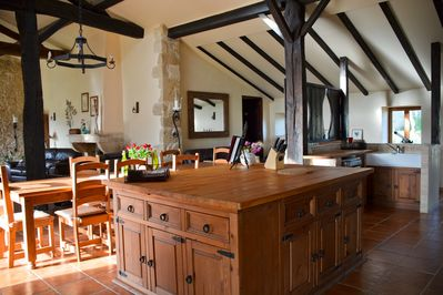 Beautiful large kitchen open plan to the dining and living areas.