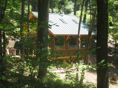 Photo for Private Getaway-17 miles to Asheville,  Hot Tub & Fireplace, Pet Friendly