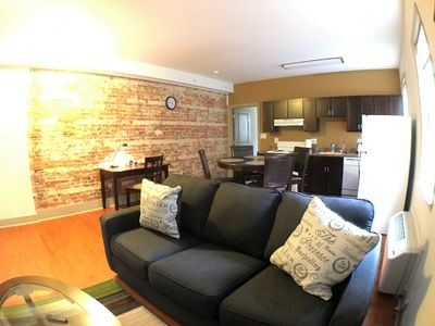 Exposed brick by the Living room