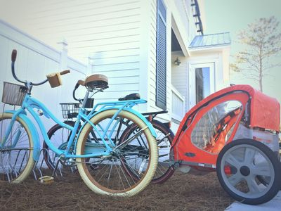 Bikes and bike trailers included with rental.