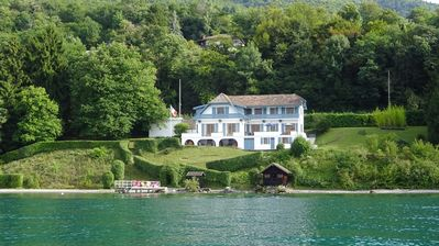 Photo for House on the water - Lake Geneva -100 m private beach with pontoon.