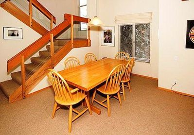 Dining room with wood table for six