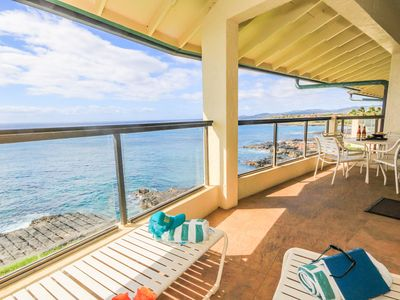 Photo for Poipu Shores 405A: Oceanfront Top Floor - AC  - Free Midsize Rental Car