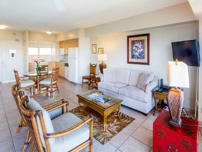 Photo for Updated High-Floor Suite w/Ocean View, Tasteful Decor, Free WiFi–Waikiki Shore  #1416