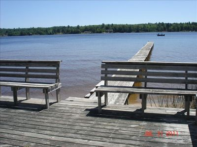 Dock and seating on the water