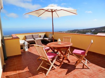 Photo for Modern studio with sunny roof terrace - views of sea and mountains, sole pool