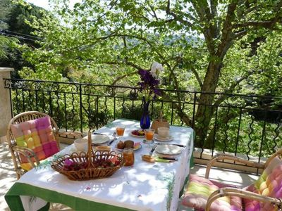 Photo for Appart (s) OLIVIERS in farmhouse, terrace, park, swimming pool, parking, Lourmarin